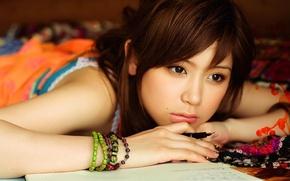 Picture eyes, face, portrait, brunette, singer, Asian, Ayaka Iida