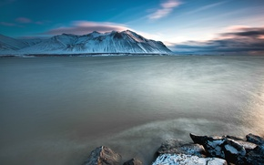 Picture sea, the sky, clouds, snow, mountains, stones, the ocean, blue, shore, Iceland, sky, sea, ocean, ...