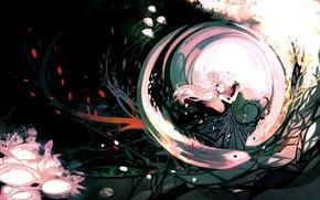 Picture girl, butterfly, art, jellyfish, Anime, Anime, NanoMortis, Teardrop