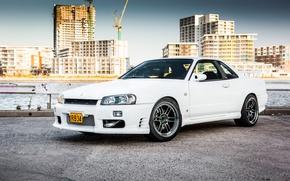Picture Nissan, white, GT-R, skyline, R34