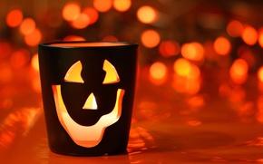 Wallpaper red, glass, Halloween, Halloween, smiley