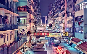Picture people, food, Hong Kong, neon, China, downtown, apartments, stores, life, restaurants