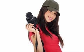 Picture girl, smile, mood, beautiful, look., paparazzi, Flirty, camera, cap