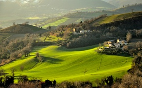 Picture grass, trees, mountains, hills, field, home, Italy