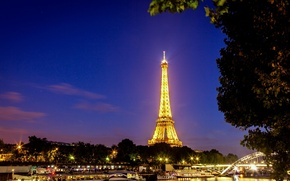 Picture bridge, light, Hay, France, France, lighting, trees, Paris, La tour Eiffel, Eiffel tower, the city, ...