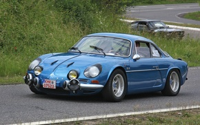 Picture retro, Renault, Blue, Alpine, 1300G, Renault Alpine A110