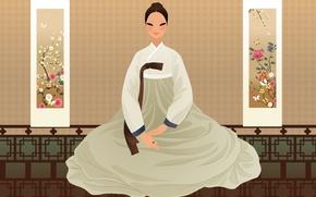 Picture girl, flowers, art, Asian, hanbok