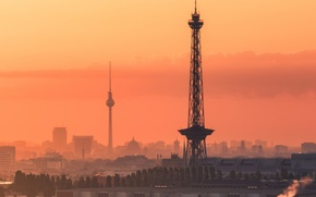 Picture Germany, sunset, Berlin, towers, TV tower