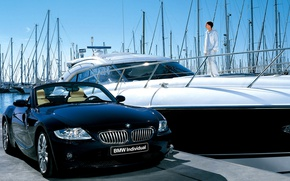 Picture yacht, BMW, pier, convertible, Z4, individual