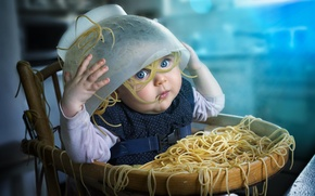 Picture child, girl, mess, spaghetti, pasta
