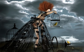 Picture girl, birds, rendering, cell