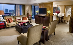 Picture design, the city, style, sofa, Windows, chairs, interior, the evening, TV, chairs, Singapore, room, beige, ...