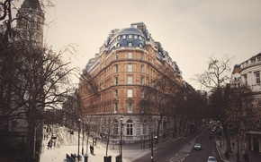 Picture cars, trees, street, people, London, England, branches, cityscape, cloudy, everyday life, urban scene