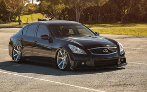 Picture tuning, Infiniti, black, drives, black, infiniti, tuning, vossen, Sedan, stance, G37