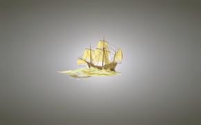 Picture ship, sailboat, minimalism, light background