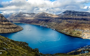 Wallpaper the view from the top, mountains, ships, Faroe Islands, Klaksvik, Bay, panorama, Denmark, clouds, harbour