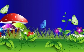 Picture grass, leaves, macro, flowers, nature, collage, butterfly, mushroom
