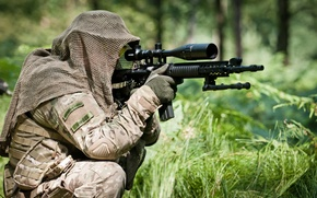 Picture forest, soldier, assault rifle, telescopic sight, shooting position