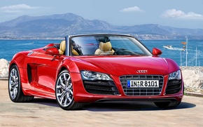 Picture machine, red, Audi, art, supercar, Spyder, sports, power, German, model., engine, forces, four-wheel drive, volume, …