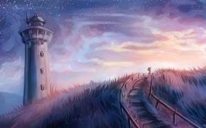 Picture the sky, grass, girl, stars, lighthouse, art, steps