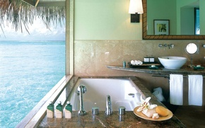 Picture design, style, interior, bathroom, the hotel, Bungalow, bath in water bungalow