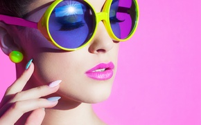 Wallpaper girl, face, eyelashes, style, background, earrings, hands, makeup, glasses, neck