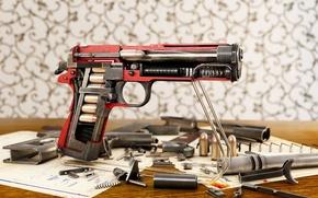 Picture rendering, cartridges, details, M1911, Alexander Iartsev, colt cutaway, Colt Cutaway