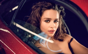 Picture look, glass, drops, red, makeup, actress, brunette, hairstyle, photographer, car, Emilia Clarke, Emilia Clarke, 2015, …