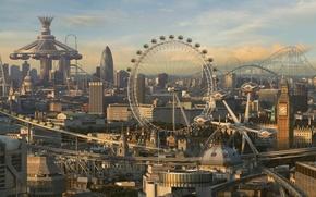 Picture the city, wheel, fantasy