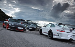 Picture white, clouds, grey, black, the building, 911, Porsche, before, silver, white, Porsche, black, track, gt3, ...