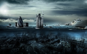Picture water, London, the flood, liner, Alexander Koshelkov