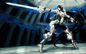 Picture girl, weapons, sword, armor, stand, league of legends