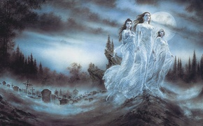 Picture night, girls, the moon, blood, art, cemetery, vampires, Luis Royo, vampires