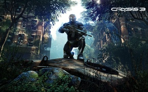 Picture trees, weapons, New York, rust, soldiers, devastation, screenshot, rifle, leaves, nanosuit, Crysis 3