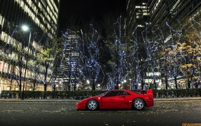 Picture night, the city, supercar, Ferrari, ferrari f40