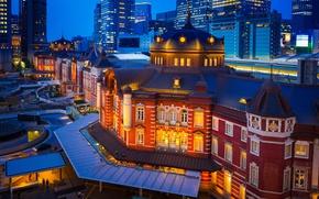 Picture building, Japan, Tokyo, Tokyo, Japan, night city, Marunouchi, Tokyo Station, Marunouchi