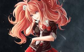 Picture look, girl, smile, background, form, art, enoshima junko, danganronpa, nekoshonen