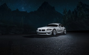 Picture car, mountains, night, white, bmw Z4M