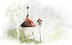 Picture roof, trees, birdhouse, house