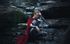 Picture girl, stones, background, sword, armor, cloak