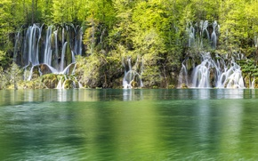 Picture forest, nature, lake, waterfalls, Croatia