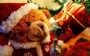 Picture holiday, toys, tree, new year, Christmas, bear