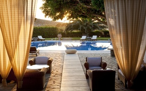 Picture trees, style, chairs, pool, in the summer, nature
