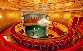 Picture scene, chairs, chandelier, theatre, balcony, hall, Spain, Almagro