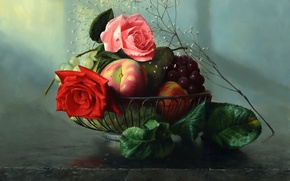 Wallpaper roses, picture, fruit, Alexei Antonov