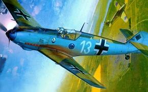 Picture figure, art, Messerschmitt, Hurricane, Luftwaffe, Emil, Hawker, British single-seat fighter, single-engine piston fighter-low, Bf-109E-3, Heinz …