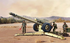 Picture art, soldiers, USSR, Russia, polygon, exercises, artillery, howitzer, D-30, artillery crew, D-30, the caliber 122 …