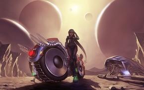 Picture Desert, Girl, Motorcycle, Something