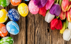 Picture eggs, colorful, Easter, tulips, happy, wood, flowers, tulips, spring, Easter, eggs, holiday