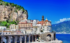 Picture sea, landscape, mountains, nature, rocks, shore, coast, building, home, Italy, Church, Italy, Amalfi, dome, Amalfi, ...